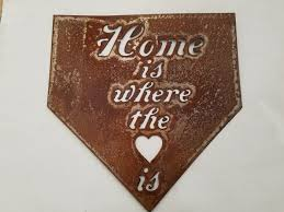 Baseball Plate Home Is Where The Heart Metal Sign