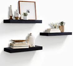 ahdecor wandregal wandboards 3er set schwimmende regal holz für wohnzimmer schlafzimmer büro oder küche schwarz