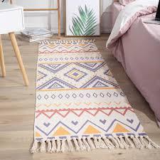 flickenteppich baumwolle leinen waschbar multifunktion rag rug teppich läufer indien ethno boho handgewebt mit fransenquaste hdju mm01 4 60x150cm