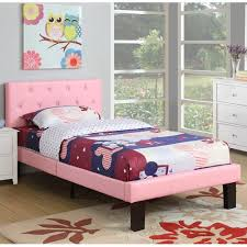 Walmart Twin Platform Bed by Poundex Pink Pu Upholstered Twin Size Platform Bed Walmart Com