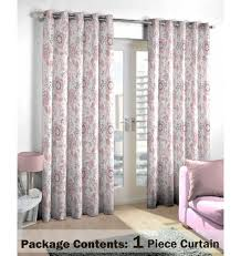 Pink and Grey Floral Curtain