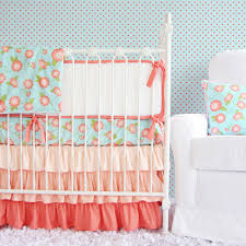 Coral And Mint Crib Bedding by Coral Crib Bedding And Wall Coral Crib Bedding Charming And