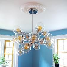 Small Two Piece Ceiling Medallions by Finally A Chandelier And How To Install A Ceiling Medallion