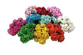 100 Mixed Color 10mm Artificial Mulberry Paper Rose Flower Wedding Scrapbook 15cm DIY Craft