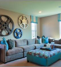 modern gray living room with turquoise and orange accents teal