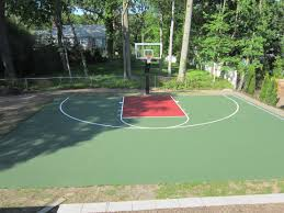This Is A Forest Green And Red Concrete Backyard Basketball Court ... Home Basketball Court Design Outdoor Backyard Courts In Unique Gallery Sport Plans With House Design And Plans How To A Gym Columbus Ohio Backyards Trendy Photo On Awesome Romantic Housens Basement Garagen Sketball Court Pinteres Half With Custom Logo Built By Deshayes