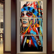 Native American Girl Feathered Women Modern Home Wall Decor Canvas Artworks Picture Art HD Print Painting On 3 Piece Framed