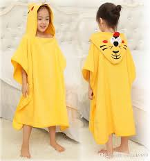 2018 Children Bathrobe Baby Kids Yellow Tiger Cotton Cape Cloak Animal Hooded Towel Boys Girls Beach Swimming Bath From Mrjack9690