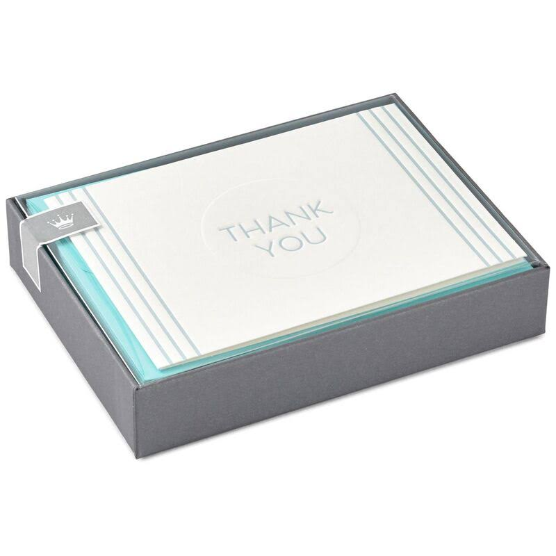 Baby Blue Stripe Thank You Notes, Box of 10