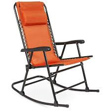 Best Choice Products Foldable Zero Gravity Rocking Patio Recliner Chair,  Orange