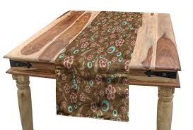 Amazon.com: Ambesonne Brown And Blue Table Runner, Floral ... Refinished Solid Oak Farmhouse Table With 6 Chairs 2 Leaf Ding Fniture In A Range Of Styles Ireland Dfs Rugs 101 The Best Size For Your Room Rug Home 30 Decorating Ideas Pictures Of Inviting Blue Lamb Furnishings Round Vintage Dropleaf Table Total Kenosha Wi Lets Settle This Do Belong In Kitchen Amish Sets