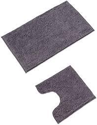 wohndirect badematten set wc vorleger 45x45cm badematte 50x80cm rutschfest waschbar badezimmerteppich mit wc ausschnitt grau