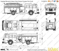 100 Fire Truck Drawing Sutphen Monarch Heavy Duty Custom Pumper Vector Drawing