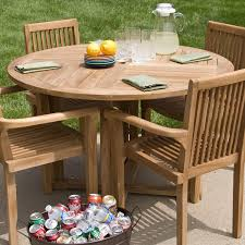 Round Teak Outdoor Dining Table Weathered