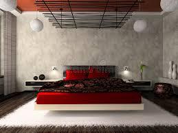 einfaches schlafzimmer mit doppelbett mit rotem leinen