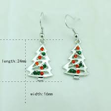 Fashion Charms Earrings Silver Plated Dangle Rhinestone Christmas Tree For Women Decoration Gifts Jewelry