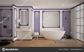 modernes weißes und lila badezimmer im klassischen zimmer