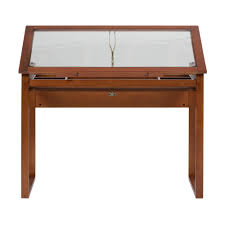 100 Studio Designs Ponderosa 42 In W Angle Adjustable Craft Drawing Drafting Wood And Glass Table With 31 In Storage Drawer