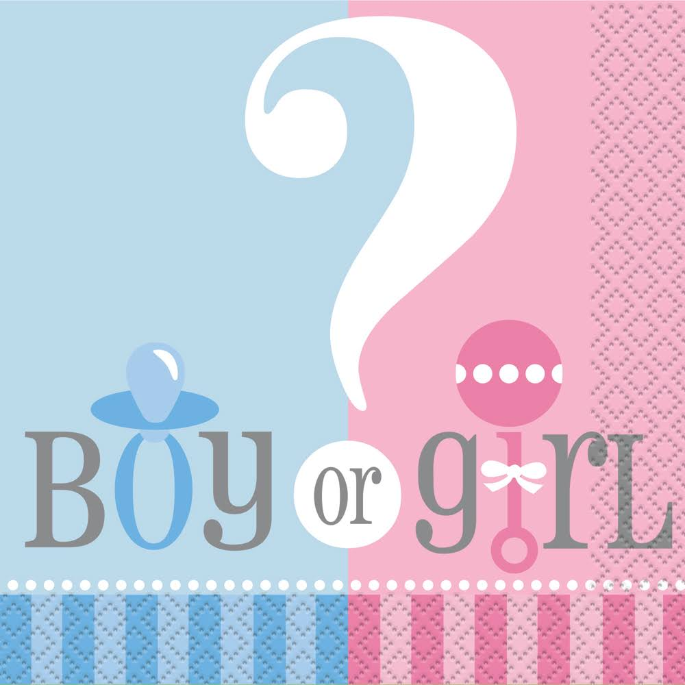 Unique Industries Gender Reveal Party Cocktail Napkins - 24ct