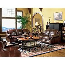 Amazon 3pc Princeton Tri Tone Burgundy Leather Sofa Loveseat