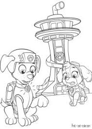 Paw Patrol Skye And Zuma Behind A Tower Coloring Pages Printable Book To Print For Free Find More Online Kids Adults Of
