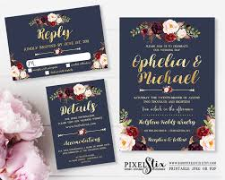 Printable Wedding Invitation Suite Navy Blue And Gold Foil Dark Rustic Flowers Floral