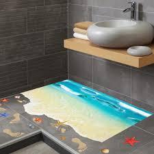3d creative wasserdicht pvc wand aufkleber seestern fußabdruck strand badezimmer boden aufkleber meer kinder