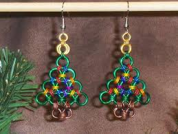 Festive Metal Accessories Chainmaille Christmas Tree Earrings