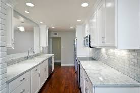 Kitchen Room Luxurious White Galley Scheme Ideas Modern Base Cabinet Combined Granite Countertops Including Electric Stove Under Microwave