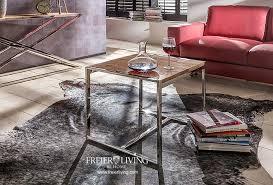 designer beistelltisch aus chrom mit altem antik holz modern deko