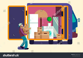 100 Packing A Moving Truck Man Full Furniture Stock Vector