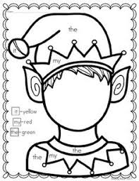 Students Use The Key On Left To Color Elf Sight Words Include Kindergarten ChristmasDecember