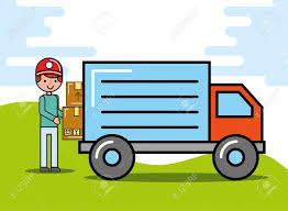 100 Truck Courier Man Carrying Boxes Logistic And Delivery Vector