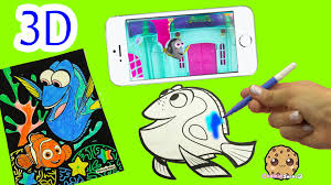 Disney Pixar Finding Dory Comes Alive In 3d On Iphone Coloring Book Fun Velvet Art Color Youtube