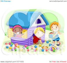 Kids Playing Inside Clipart