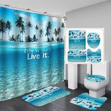 großhandel new bunte strand gewebe duschvorhang badezimmer vorhang sea conch shell starfish boot teppich sets toiletten abdeckung mat set bad dekor