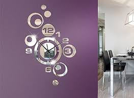 grandora w842 moderne grau querformat wandtatoo glas wohnzimmer kleine wanduhr