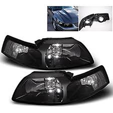 ford mustang replacement headlight assembly black