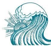 Surf Sun Abstract sea wave Vector illustration of blue sea