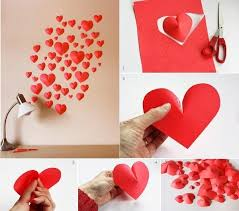 Valentines Day DIY Idea Make A Wall Of Paper Hearts