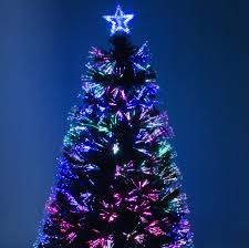 Green Fibre Optic Christmas Tree With Red Berries And Multi Coloured Lights