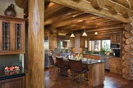 Small Log Cabin Kitchen Ideas by Teton Springs Idaho Log Home By Precisioncraft