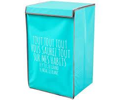 panier a linge bleu meuble panier rangement linge design inscription expression
