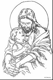 Excellent Jesus With Child Coloring Page And Pages For Adults