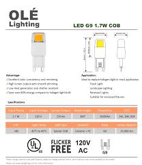 ul listed led 120v high voltage g9 1 7w cob light bulb buy ul