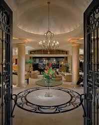 Grand Rotunda Entrance Entry Mediterranean With Glass Top Table Casual Standard Height Dining Tables