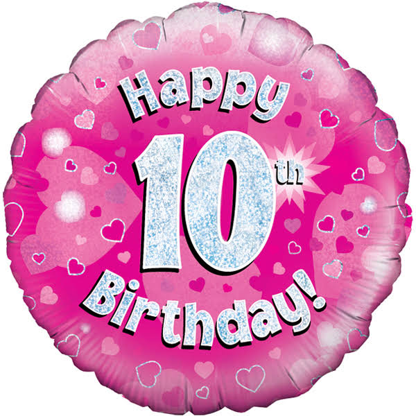 Oaktree Happy 10th Birthday Foil Balloon - Pink, 18""