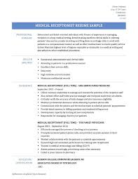 Spa Receptionist Resume Valuable For Medical Mple No Experience Examples Full Attendant Sample