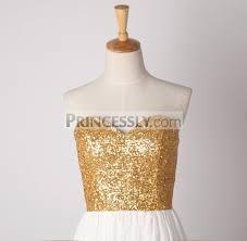 strapless sweetheart gold sequin ivory chiffon long bridesmaid dress