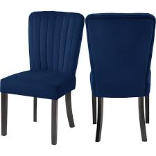 Shelby Dining Chair In Channel Tufted Navy Blue Velvet (Set Of 2) By  Meridian Furniture Fairy Contemporary Fabric Ding Chairs Set Of 2 Navy Blue Shelby Chair In Channel Tufted Velvet By Meridian Fniture Hanover Mcer 5piece Patio With 4 Cushioned And A 40inch Square Table Mercdn5pcsqnvy Colston Silver Leaf Including Brookville Harley Traditional Microfiber Details About Bates New Opal Room Gold William